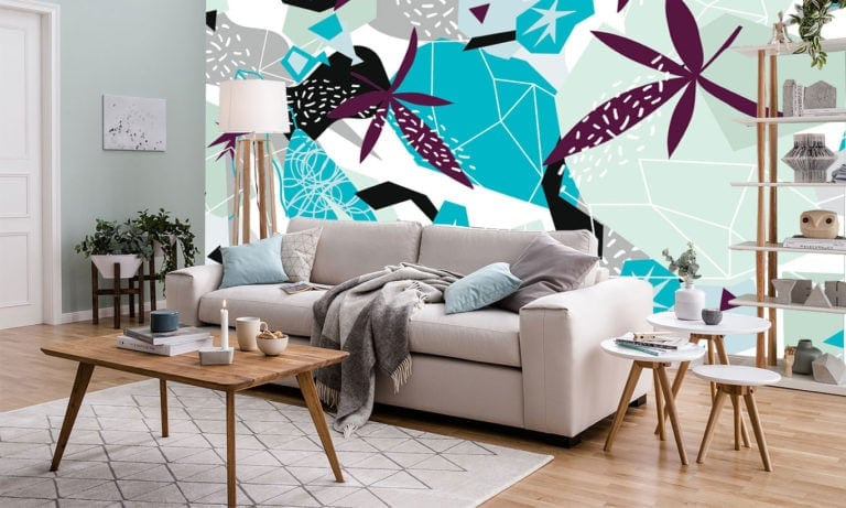 Isometric Leaves Blue/Gray Wallpaper Mural