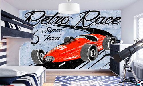retro style wallpaper murals - shop by style